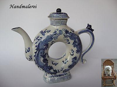 Chinesische Teekanne 700 ml 24 cm Keramik Handmalerei Drachen Dragon