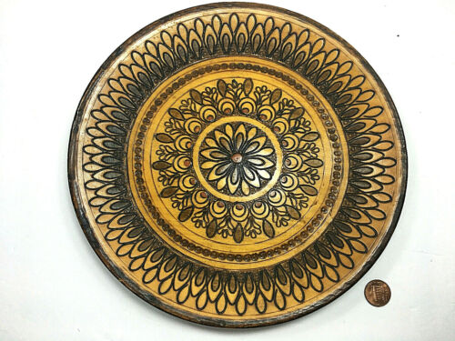 Poland Folk Art Vintage Hand Carved & Painted Wooden Plate Brown Table Decor