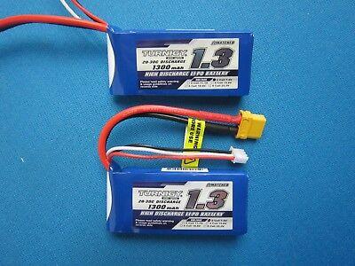7.4v Lipo Battery Mini (2 TURNIGY 1300mAh 2S 7.4V LIPO BATTERY 1/18 LOSI MINI T LST2 SC 18 DEANS T TRX )