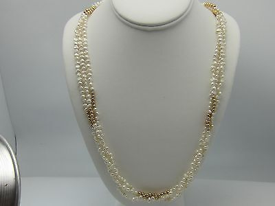 Cultured pearl 3 strand necklace 28 inches 14k yellow gold beads and clasp