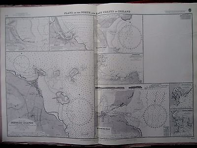"1970 8 PORTS & BAYS on NORTH & EAST COAST of IRELAND Sea Map Chart 28"" x 41"" A73"