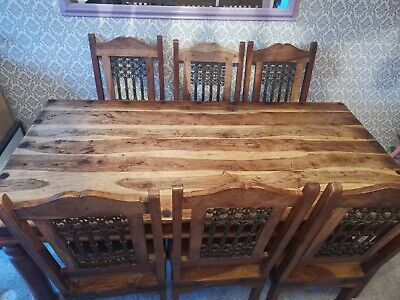 Solid Wood sheesham dining Table 6 Chairs heavy
