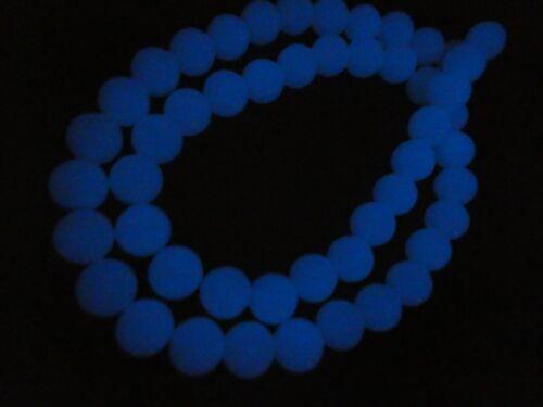 "Blue Phosphorescent Glow in The Dark Modern Ye Ming Zhu 8mm Bead Strand 15"""