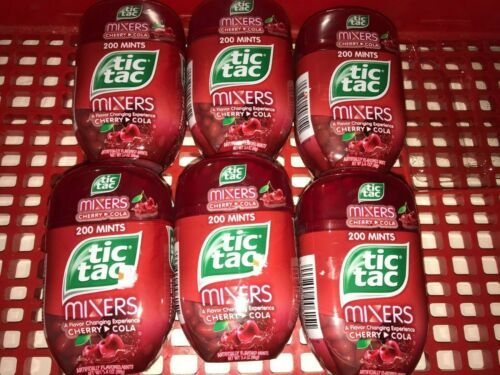 Tic Tac Lot Of 6 Cherry Cola Mixers 3.4oz 200 Mints Jumbo Size. Total of 1200