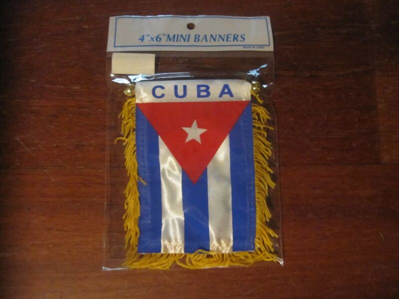 """NWT MINI BANNER  4""""x 6""""  - CUBA FLAG and COAT of ARMS"""