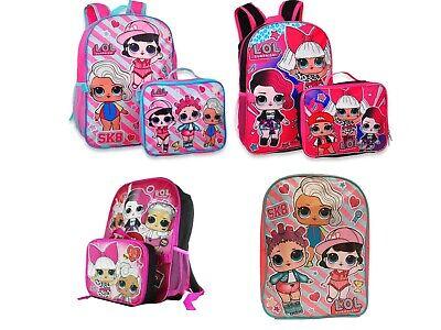 LOL Surprise Little Girls School Backpack Book bag Lunch box Gift Kids L.O.L.  - Backpacks Lunch Boxes