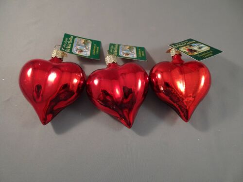 """3 NOS w Tag 2001 Old World Christmas OWC LARGE SHINY HEART 3"""" Hand Painted AS IS"""