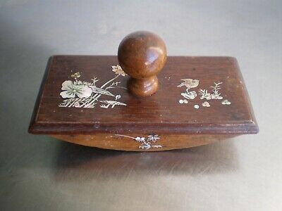 Stamped Office Antique Asia Wood Exotic Marquetry Mother-Of-Pearl Vietnam Deco
