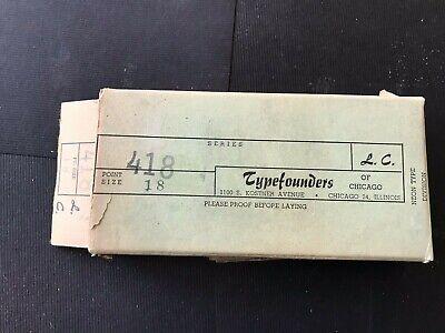 Vintage Letterpress Printing Typefounders18 Pt Lead Item 418 New Lowercase