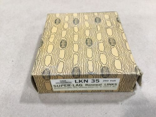 Box Of 100 Bussmann Buss Super-Lag Renewal Links LKN-35 250V #08G46