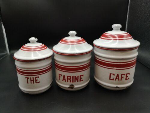 3 Red & White  French Enamelware Nesting Canisters ( same design enamel rack )