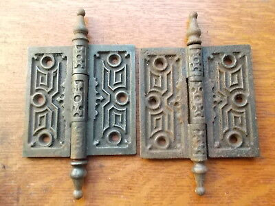 Two Antique Fancy Victorian Iron Door Hinges 4
