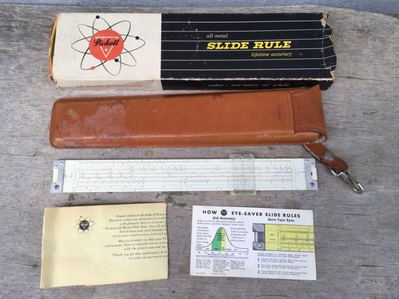 Vintage Pickett Model N803-T Slide Rule w/ Leather Case Box Paperwork