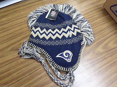 NFL Team Apparel Los Angeles Rams Mohawk Tassel Knit Beanie Hat -  NWT
