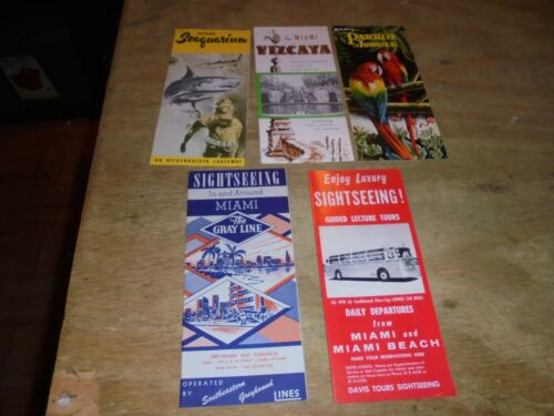 Lot of 5 Vintage 1950s miami Travel Brochure Guide very nice shape