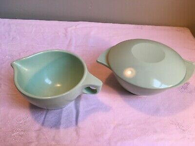Mid Century Boontonware Sugar Bowl with Lid & Creamer Mint Green Melmac Melamine