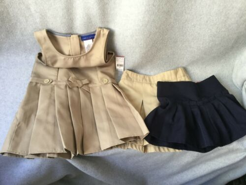 5 pc Girl Uniform Lot Skorts Shorts Jumper Tan + Blue Size 4 Sears + EUC