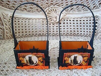 TWO BETHANY LOWE WHIMSICAL BLACK CAT OLD FASHIONED GLITTER HALLOWEEN BASKETS