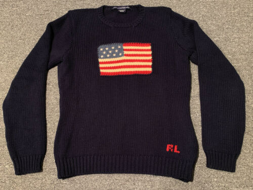 Ralph Lauren Sport USA Flag Sweater Youth Large RL Polo vtg