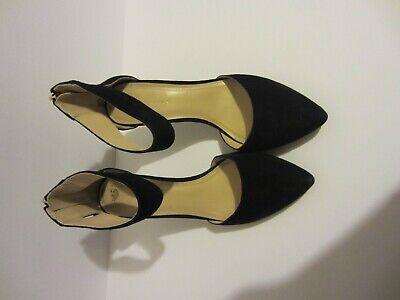 BCBGENERATION Malabo Black Suede Ankle Strap Gold Zipper Heels Size 9M