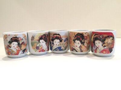 Vintage Japanese Geisha Girl Sake Cups Set Of 5