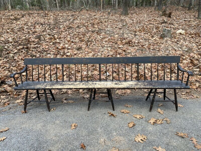 """Antique 9ft Deacons Bench W/ Black Old Paint """"rare"""" Made In Woodstock VT"""