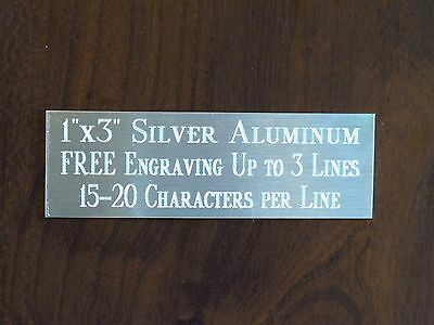 1x3 Silver Name Plate Art-trophies-gift-taxidermy-flag Case Free Engraved
