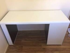 Long Black and White Desk with Side Shelves Stafford Brisbane North West Preview
