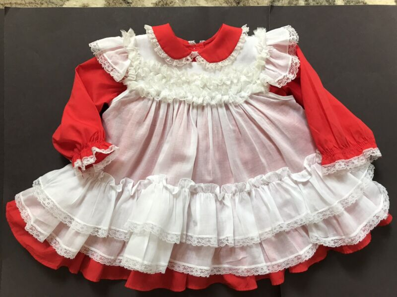 Vintage Bryan Red Dress With White Pinafore Size 24 Months 1980s
