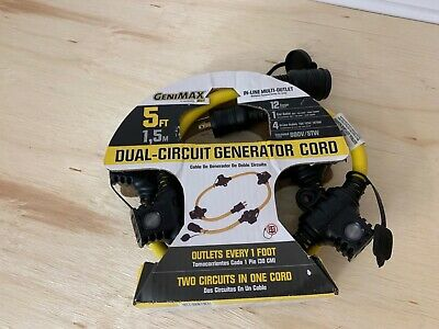 Generator 5 Power Cord Multi Outlet Extension Dual Circuit Genimax 12-gauge New