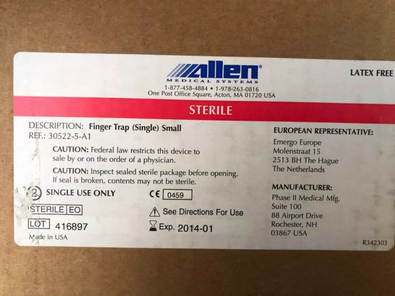 (CASE of 8) Allen Medical Mesh Finger Traps, Small Ref 30522-5-A1  Exp 1/2014