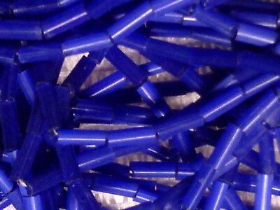 VTG 1 HANK NAVY BLUE MATTE SATIN 5mm BUGLE BEADS #060711t