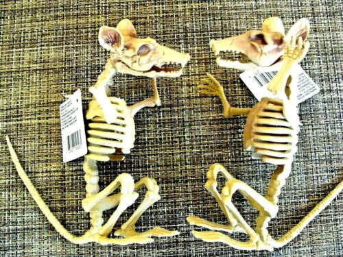 """UGLY RAT SKELETONS LOT OF TWO (2)  7"""" PLASTIC DECOR"""