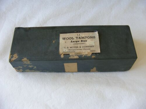 VTG WOOL TAMPONS NIB MOYER CO ANTIQUE  MEDICAL COLLECTIBLE ONLY FEMININE HYGIENE