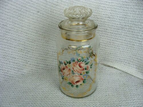 """ANTIQUE GLASS HAND PAINTED RAISED ENAMEL APOTHECARY JAR 12"""" w ROSES & GILT"""