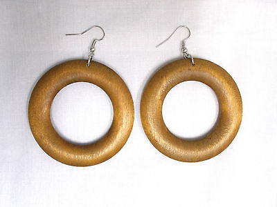 NEW BIG DIRTY BLONDE LIGHT BROWN FLAT DONUT ROUND WOOD HOOP ELEMENTAL EARRINGS Element Flat Light