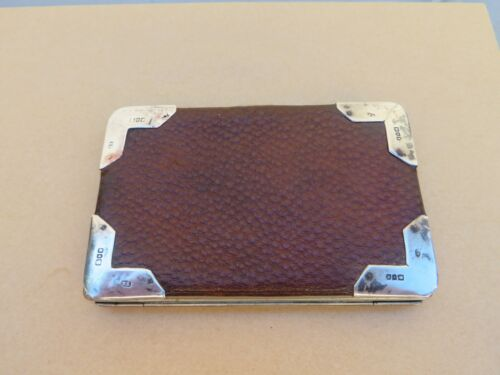 Antique Leather & Silver Wallet / Calling Card Case HM 1902 Henry Richarde
