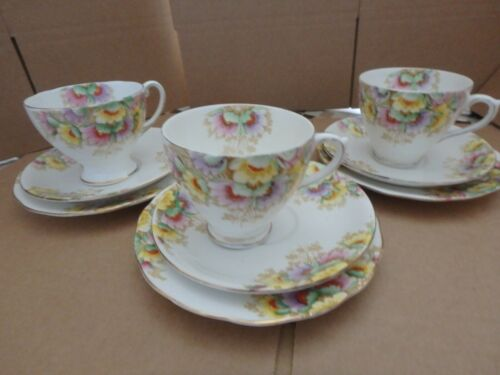 ROYAL STANDARD ENGLISH BONE CHINA, GORGEOUS NINE PIECE FLORAL TEA SET