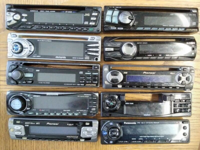 Car Stereo 10 Faceplate Pioneer Alpine JVC Sony Clarion + CD MP3 Receiver Lot