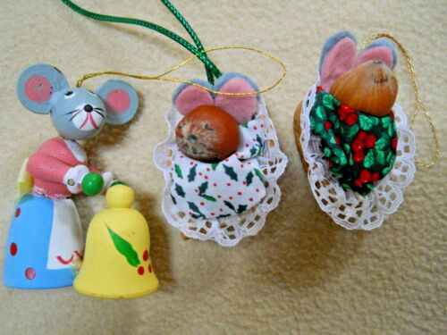 3 Vintage Wooden & Nut Mice Mouse Christmas Ornaments