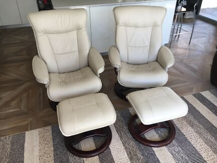 Moran leather armchair package with foot stools