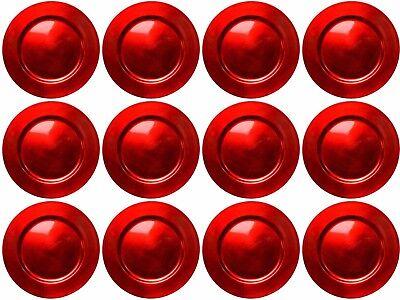 ekoteller 33cm Kunststoff Weihnachten Unterteller Hochzeit (Rote Kunststoff-teller)