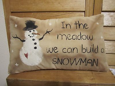 Primitive Stenciled Pillow -Winter - In the Meadow we can build a snowman