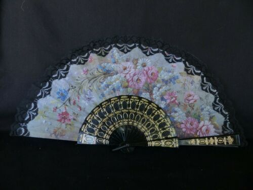 vintage Chinese hand fan 18 inches floral pattern