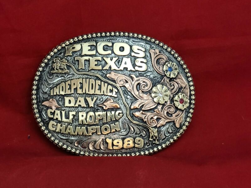 CALF ROPING RODEO CHAMPION TROPHY RODEO BUCKLE☆1989☆PECOS TEXAS  VINTAGE #263