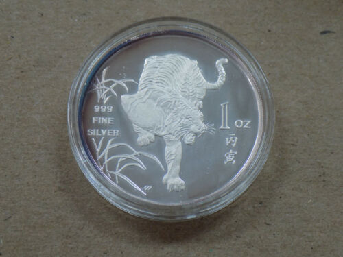 1986 SINGAPORE TIGER 1 OZ SILVER PROOF COIN