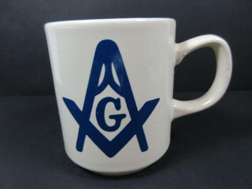 VINTAGE MASONIC FREE MASONS LOGO CERAMIC COFFEE CUP MUG RETRO DECOR FRATERNAL
