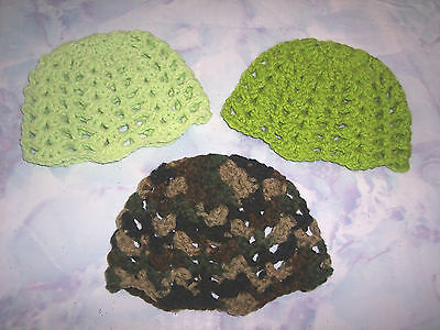 3 Hand Crochet Beanie Hats For The My Size Barbie Doll (Lt Lime-Lime-Camouflage) (My Size Disguise)