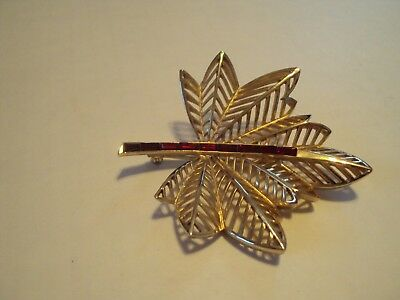 Large Leaf Pin - Large Gold Tone Leaf Pin with Ruby Red Rhinestones Signed Coro in Script