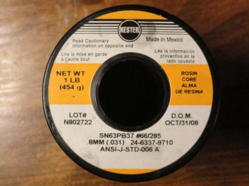 Kester Leaded Rosein Core Solder 63/37 .031 Dia. 1LB Spool, Used, 90% Remaining